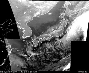 気象衛星ひまわり赤外像201603150625