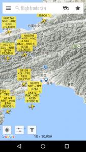 Androidアプリ Flightradar24 の画面
