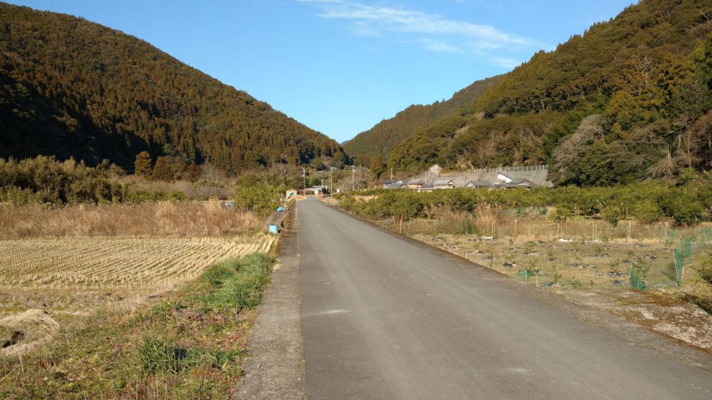 田んぼのど真ん中を走る森林軌道跡